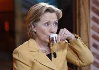Hillary Clinton having Turkish coffee